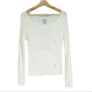 NWT AEROPOSTAL Ivory Cable Knit Pullover Sweater L